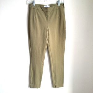 Reiss Olive Green Skinny Side Zip Mid Rise Pants